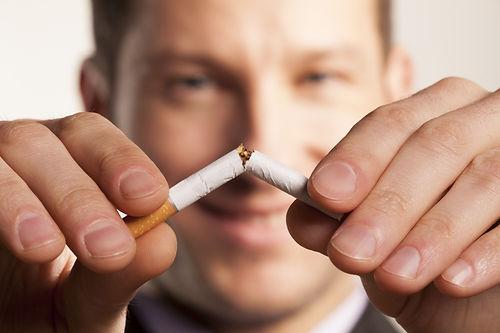 stop smoking happy person