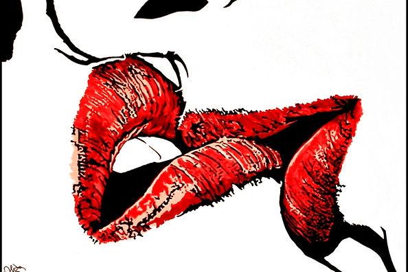 Kissing lips. Ink drawing.