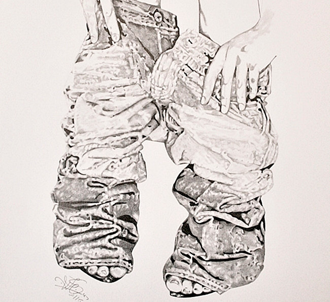 Woman undressing jeans. Pencil drawing.
