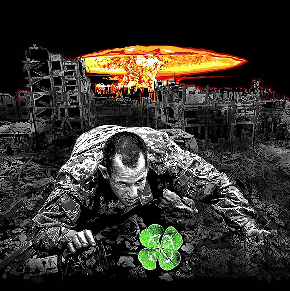 War. Soldier crawling. Four-leaf clover. Digital drawing.