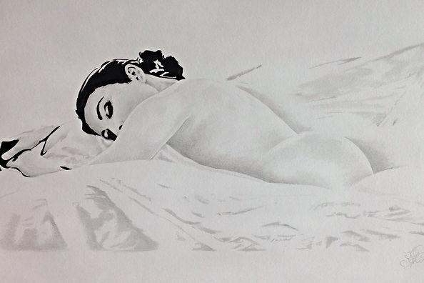 Womnsleepig. Pencil drawing.