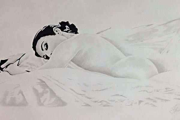 Womnsleepig. Pencil drawing.