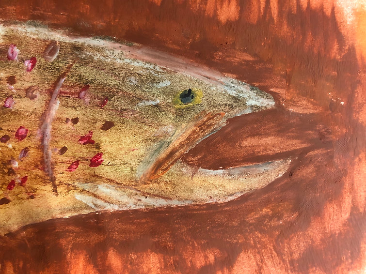 Painting of brown trout with mouth open.
