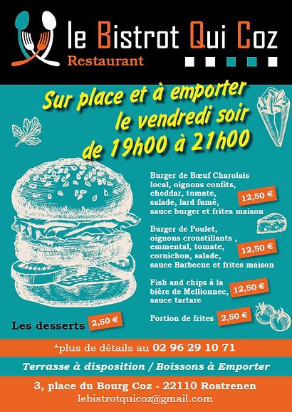 affiche burger sur place et a emporter.p