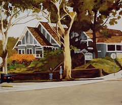 Oil painting of the Del Mar Library by Mac McMillan 2009