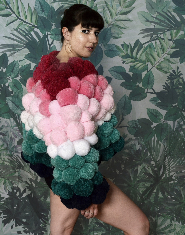 handmade pompom jacket