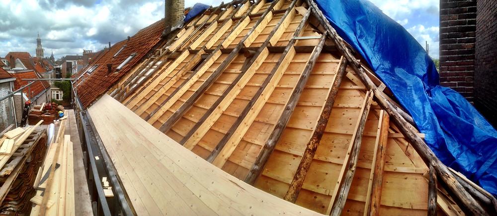 Renovatie van het dak.