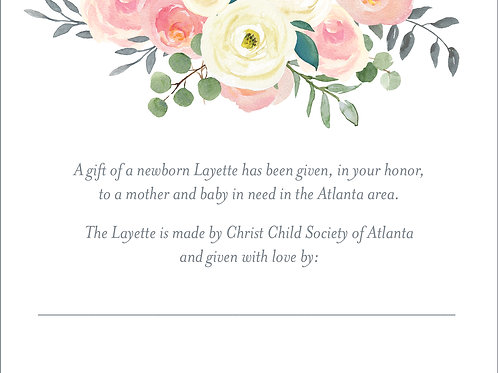 In Honor Of Layette Donation