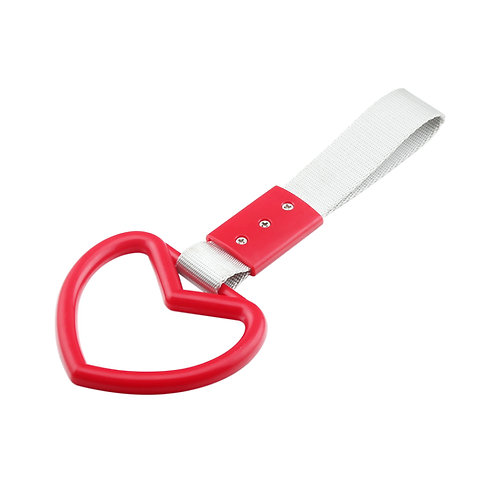 Red-Heart JDM Hand Ring Subway Train Bus Hold Handle Tow Hook