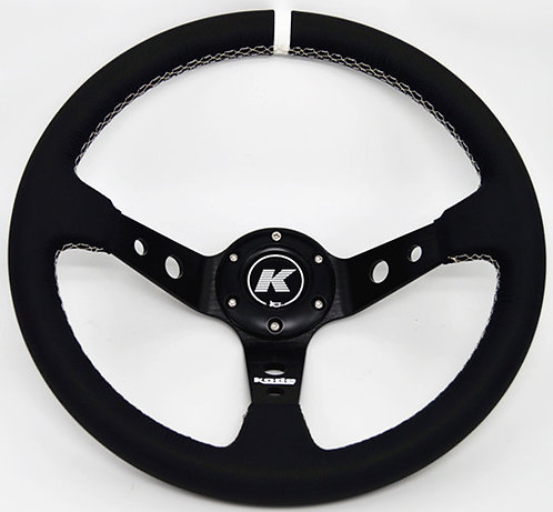 KODE Leather Steering Wheel-Deep Dish White Stitch