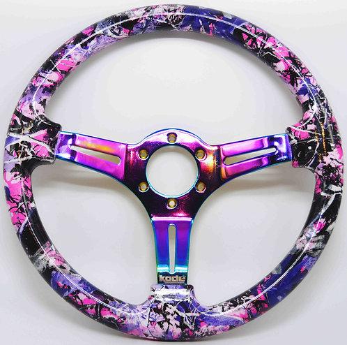 Kode-350mm Flat Dish Retro ABS Steering Wheel Neo Chrome/Muddy Tree ABS