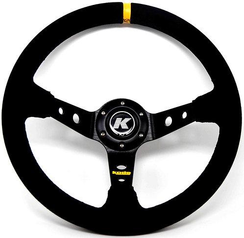 KODE Suede Steering Wheel-Deep Dish Black Stitch