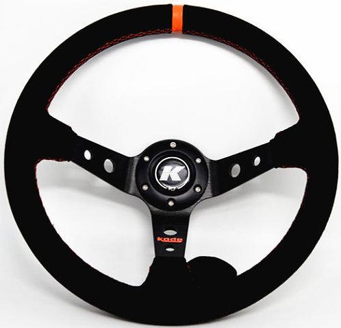KODE Suede Steering Wheel-Deep Dish Orange Stitch