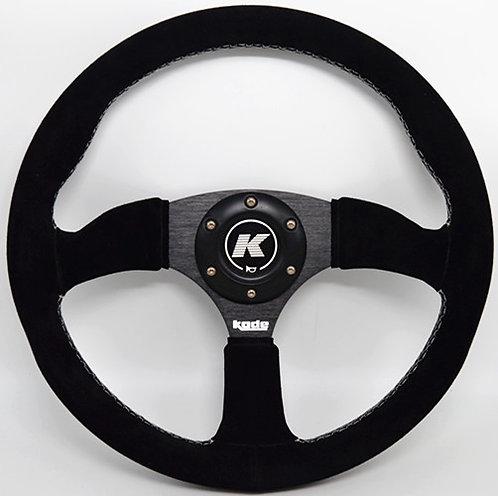 KODE Suede Steering Wheel-Half Dish White Stitch
