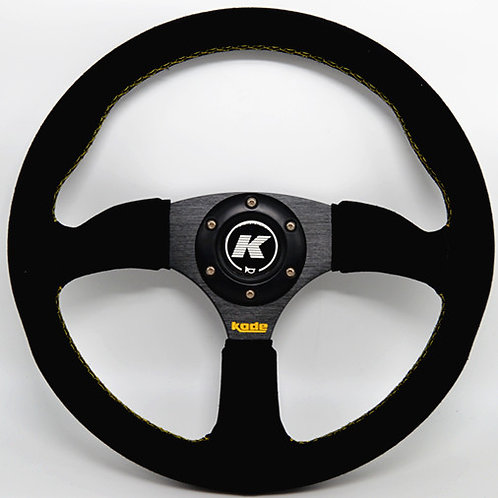 KODE Suede Half Dish Steering Wheel Yellow Stitch