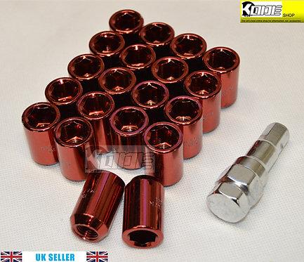 12x1.5 RED Wheel Tuner Lug Nuts Set 20pcs