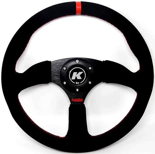 KODE Suede Steering Wheel-Half Dish Red Stitching