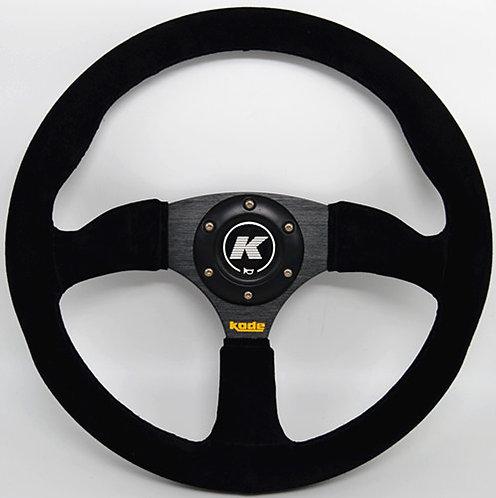 KODE Suede Steering Wheel-Half Dish Black Stitch