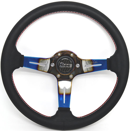 Kode-350mm Leather Steering Wheel White/Red Stitch 6x74mm PCD Fits MOMO OMP Boss