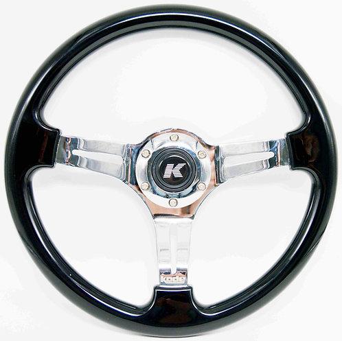 Kode-350mm Flat Dish Retro ABS Steering Wheel Silver Center Fits MOMO OMP B