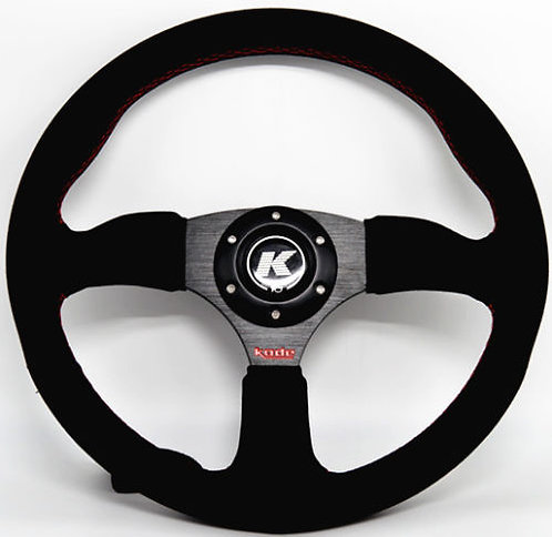 KODE Suede Steering Wheel-Half Dish Red stitch