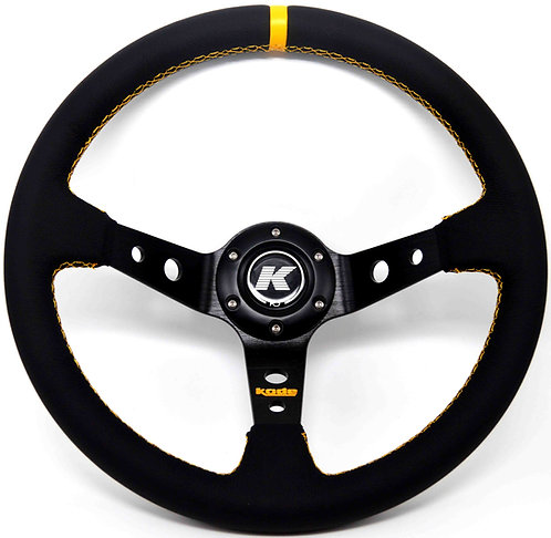 KODE Leather Steering Wheel-Deep Dish Yellow Stitch
