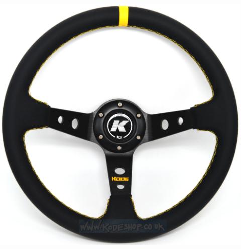 KODE Leather Steering Wheel-Deep Dish Yellow Stitch