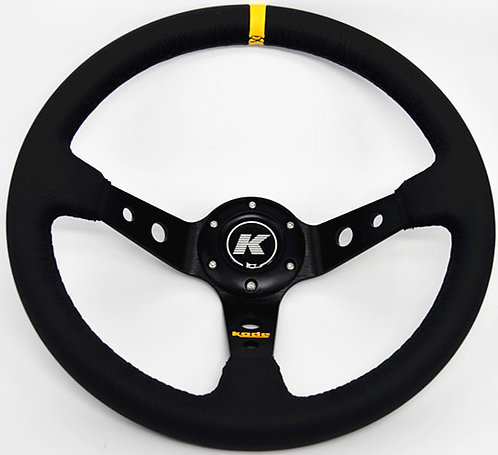 KODE Leather Steering Wheel - Deep Dish Bk Stitch