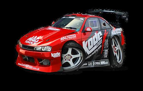 A3 Poster Kode/Mac Tool Drift Car Nissan 200SX S14A