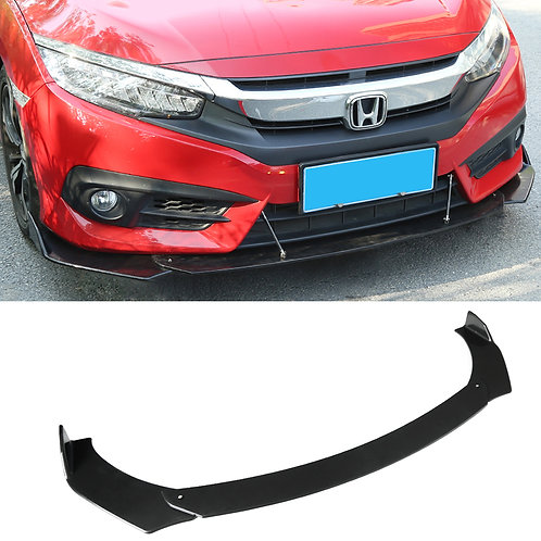 Black Universal Car Front Bumper Spoiler Lip Body Kit Splitter Chin-Round Middle