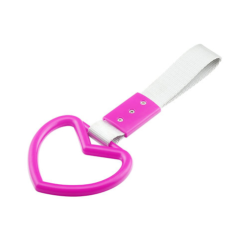 Pink-Heart JDM Hand Ring Subway Train Bus Hold Handle Tow Hook S