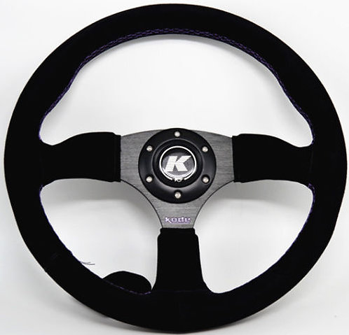 KODE Suede Steering Wheel Half Dish Purple stitch