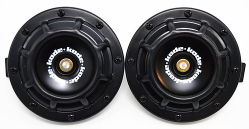 A Pair Universal 12V 5 Compact Super Tone Loud Blast Grill Mount Horn Black