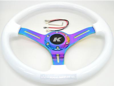 Kode-350mm Flat Dish Retro ABS Steering Wheel Neo Chrome Fits MOMO OMP Boss