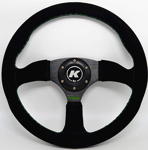 KODE Suede Steering Wheel-Half Dish Green stitch