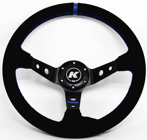 KODE Suede Steering Wheel - Deep Dish Blue Stitch