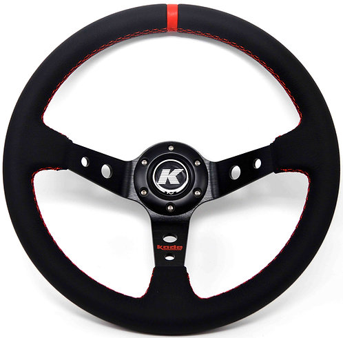 KODE Leather Steering Wheel - Deep Dish Red Stitch