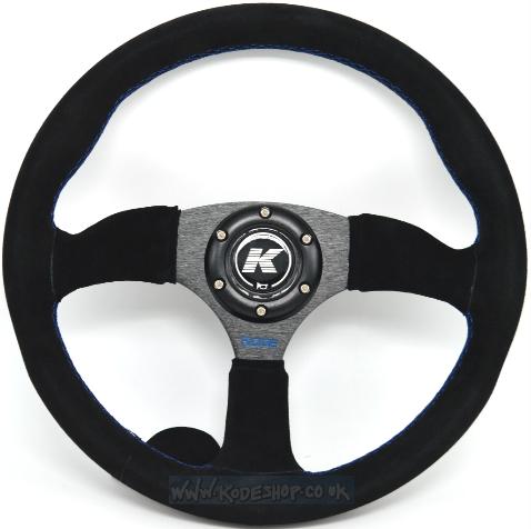 KODE Suede Steering Wheel-Half Dish Blue Stitch