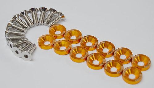KODE 12pcs Anodised Alu. M6 Fender Washers Bolt-Golden Orange