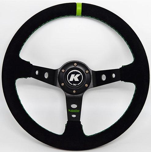 KODE Suede Steering Wheel-Deep Dish Green Stitch