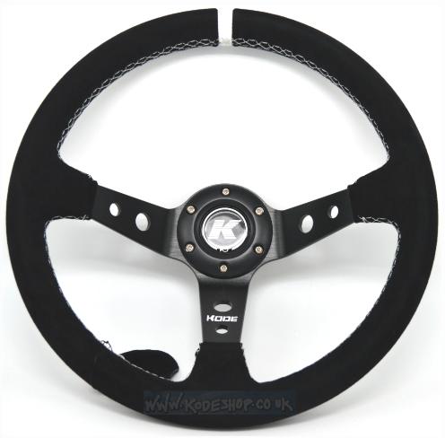 KODE Suede Steering Wheel-Deep Dish White Stitch