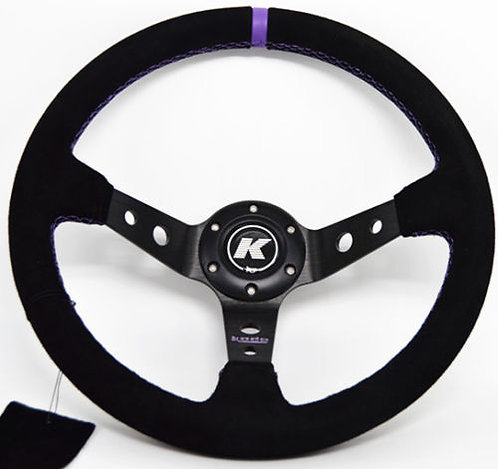 KODE Suede Steering Wheel-Deep Dish Purple Stitch