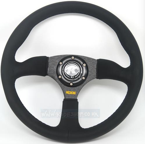 KODE Leather Steering Wheel Half Dish Black stitch