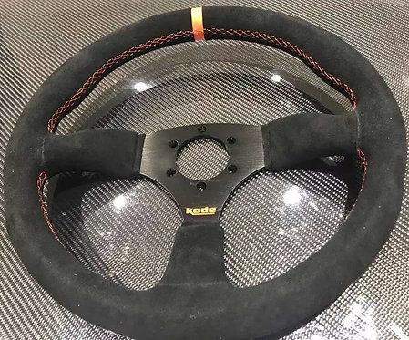 KODE Suede Steering Wheel-Half Dish Orange Stitch