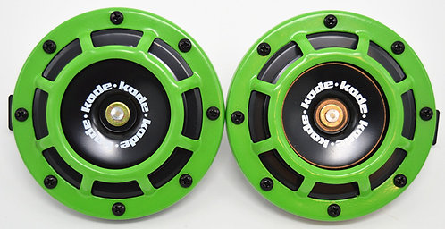 A Pair Universal 12V 5 Compact Super Tone Loud Blast Grill Mount Horn Green