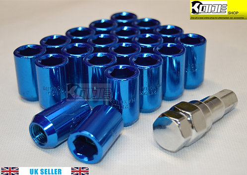 12x1.5 Blue Wheel Tuner Lug Nuts Set 20pcs