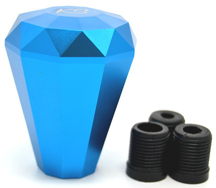 Kode Shop-Light Blue Diamond Shape Billet Gear Knob Screw On Fitment 70mm Long