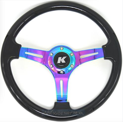 Kode-350mm Flat Dish Retro ABS Steering Wheel Neo Center Fits MOMO OM