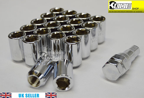 12x1.5 SILVER Wheel Tuner Lug Nuts Set 20pcs