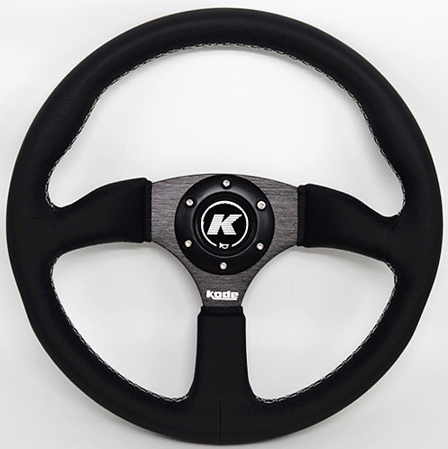 KODE Leather Steering Wheel Half Dish White Stitching